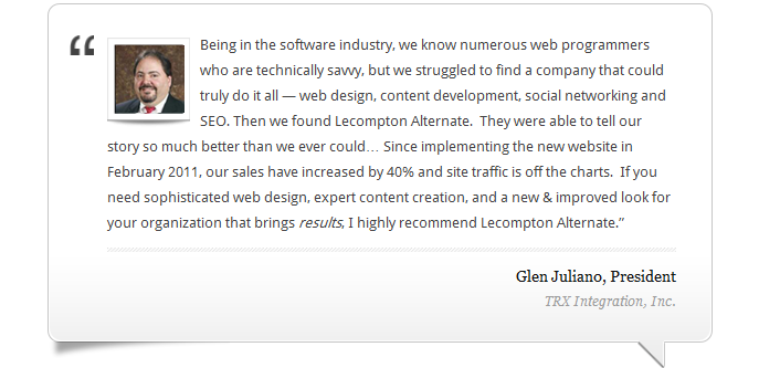 Lecompton Alternate testimonial from Glen Juliano, TRX Integration, Inc. President
